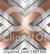 Clipart Of A Rose Gold And Brushed Silver Background Royalty Free Illustration