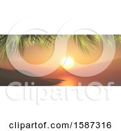 Clipart Of A 3d Ocean Sunset With Palm Trees Royalty Free Illustration