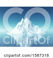 Clipart Of A 3d Floating Iceberg Royalty Free Illustration