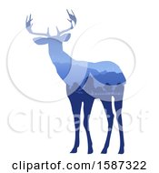 Clipart Of A Blue Deer Silhouette With A Mountain Landscape On A White Background Royalty Free Vector Illustration