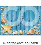 Clipart Of A Blue Wood And Sea Shell Background Royalty Free Vector Illustration by dero