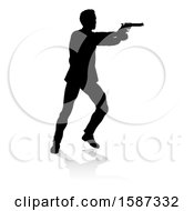 Clipart Of A Silhouetted Actor Or Shooter With A Reflection Or Shadow On A White Background Royalty Free Vector Illustration