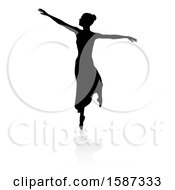 Silhouetted Ballerina With A Reflection Or Shadow On A White Background