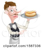 White Male Waiter Holding A Hot Dog On A Platter And Pointing