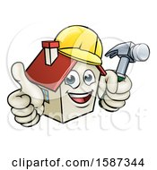 Cartoon Happy White Home Mascot Character Wearing A Hardhat Holding A Hammer And Giving A Thumb Up