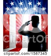 Clipart Of A Silhouetted Full Length Male Military Veteran Saluting Over An American Themed Flag And Bursts Royalty Free Vector Illustration by AtStockIllustration