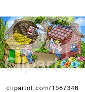 Clipart Of A Wolf Watching Piggies At Their Brick Wood And Straw Houses Royalty Free Vector Illustration