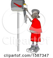 Clipart Of A Black Boy Checking Mail From A Tall Mailbox Royalty Free Vector Illustration