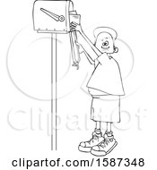 Clipart Of A Lineart Black Boy Checking Mail From A Tall Mailbox Royalty Free Vector Illustration