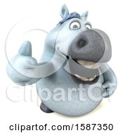 Clipart Of A 3d Chubby White Horse Holding A Thumb Up On A White Background Royalty Free Illustration by Julos