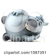 Clipart Of A 3d Chubby White Horse Resting On His Side On A White Background Royalty Free Illustration by Julos