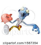 Clipart Of A 3d Blue Zombie Holding A Piggy Bank On A White Background Royalty Free Illustration by Julos