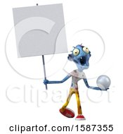 3d Blue Zombie Holding A Golf Ball On A White Background