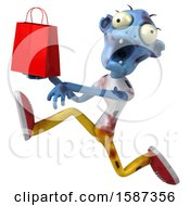 Clipart Of A 3d Blue Zombie Holding A Gift Bag On A White Background Royalty Free Illustration by Julos