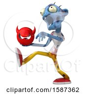 Clipart Of A 3d Blue Zombie Holding A Devil On A White Background Royalty Free Illustration by Julos
