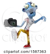 Clipart Of A 3d Blue Zombie Holding A Camera On A White Background Royalty Free Illustration by Julos