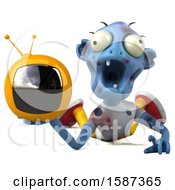 Clipart Of A 3d Blue Zombie Holding A Tv On A White Background Royalty Free Illustration by Julos