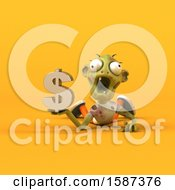 Clipart Of A 3d Zombie Holding A Dollar Sign On A Yellow Background Royalty Free Illustration by Julos