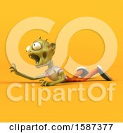 Clipart Of A 3d Zombie On A Yellow Background Royalty Free Illustration by Julos