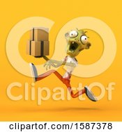 Clipart Of A 3d Zombie Holding Boxes On A Yellow Background Royalty Free Illustration by Julos