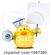 Clipart Of A 3d Yellow Bird Sailor Holding An Eyeball On A White Background Royalty Free Illustration