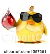 Clipart Of A 3d Yellow Bird Holding A Blood Drop On A White Background Royalty Free Illustration