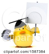 Clipart Of A 3d Yellow Bird Graduate Holding A Euro On A White Background Royalty Free Illustration