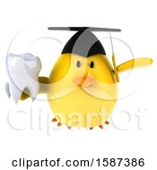 Clipart Of A 3d Yellow Bird Graduate Holding A Tooth On A White Background Royalty Free Illustration