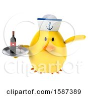 Clipart Of A 3d Yellow Bird Sailor Holding Wine On A White Background Royalty Free Illustration