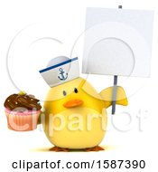 Clipart Of A 3d Yellow Bird Sailor Holding A Cupcake On A White Background Royalty Free Illustration