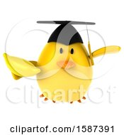 Clipart Of A 3d Yellow Bird Graduate Holding A Banana On A White Background Royalty Free Illustration