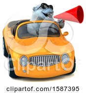 Clipart Of A 3d White Monkey Yeti Driving A Convertible On A White Background Royalty Free Illustration