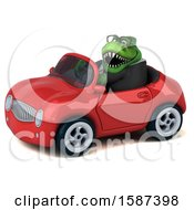 Clipart Of A 3d Green Business T Rex Dinosaur Driving A Convertible On A White Background Royalty Free Illustration