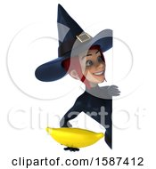 Clipart Of A 3d Blue Green Witch Holding A Banana On A White Background Royalty Free Illustration