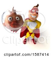 3d Buff White Male Red And Blue Super Hero Holding A Fish Bowl On A White Background