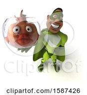 3d Buff Black Male Green Super Hero Holding A Fish Bowl On A White Background