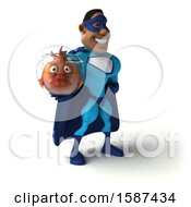 3d Buff Black Male Blue Super Hero Holding A Fish Bowl On A White Background