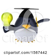 3d Chubby Penguin Graduate Holding A Light Bulb On A White Background