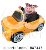 Clipart Of A 3d Chubby Business Pig Driving A Convertible On A White Background Royalty Free Illustration