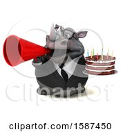 Clipart Of A 3d Business Rhino Holding A Birthday Cake On A White Background Royalty Free Illustration by Julos