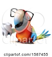 Clipart Of A 3d Scarlet Macaw Parrot Holding A Tooth On A White Background Royalty Free Illustration