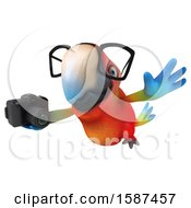 Clipart Of A 3d Scarlet Macaw Parrot Holding A Camera On A White Background Royalty Free Illustration