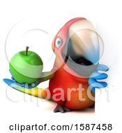 Clipart Of A 3d Scarlet Macaw Parrot Holding An Apple On A White Background Royalty Free Illustration
