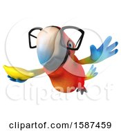 Clipart Of A 3d Scarlet Macaw Parrot Holding A Banana On A White Background Royalty Free Illustration