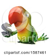 Clipart Of A 3d Green Macaw Parrot Holding A Dollar Sign On A White Background Royalty Free Illustration