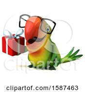 Clipart Of A 3d Green Macaw Parrot Holding A Gift On A White Background Royalty Free Illustration