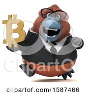 Clipart Of A 3d Business Orangutan Monkey Holding A  On A White Background Royalty Free Illustration by Julos