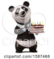 3d Business Panda Holding A Birthday Cake On A White Background