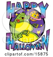 Green Fat Alien Licking His Lips With Text Reading Happy Halloween