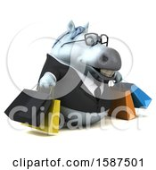 Clipart Of A 3d Chubby White Business Horse Carrying Shopping Bags On A White Background Royalty Free Illustration